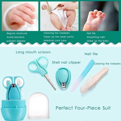 (BABY GROOMING KIT) 4 IN 1 INFANT BABY NAIL CLIPPER SET GROOMING MANICURE SET WITH SCISSORS